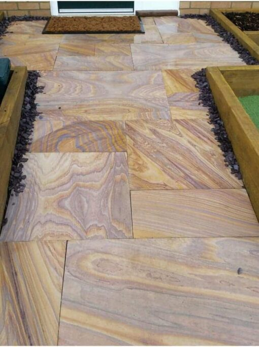 Rainbow Sawn Smooth Sandstone Paving
