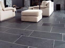 Black Brazilian slate laid in lounge area