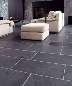 Black Brazilian slate laid in lounge area