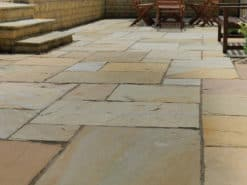 Patio and steps paved with buff blend sandstone