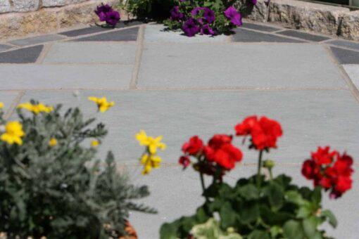 Kotah blue limestone in corner of garden patio
