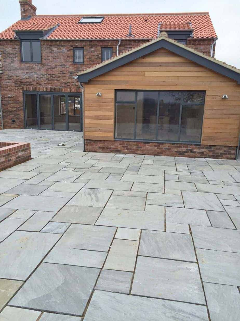 kandla grey mixed size sandstone paving slabs. Black Bedroom Furniture Sets. Home Design Ideas