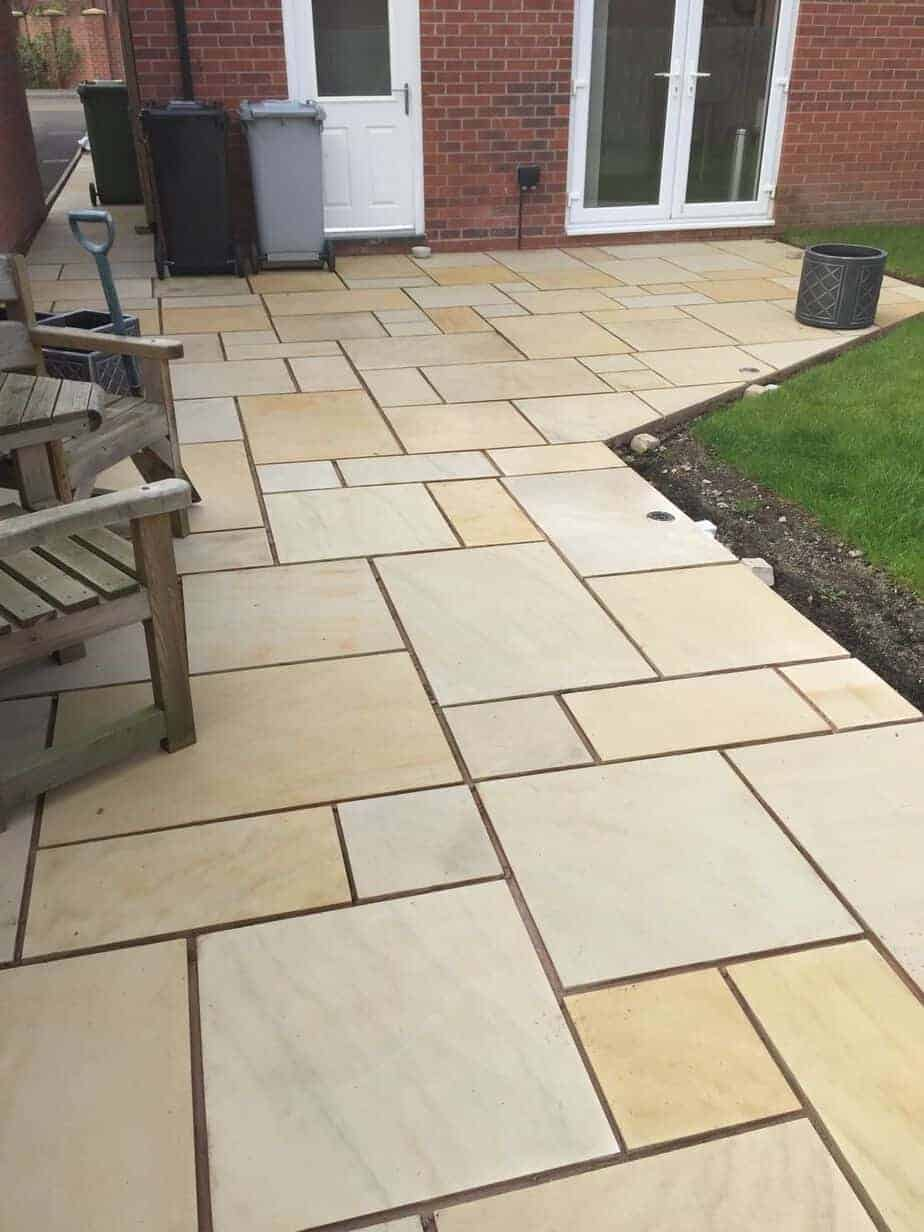 Mint Sawn Rectangle Paving Slabs Indian Sandstone Patio