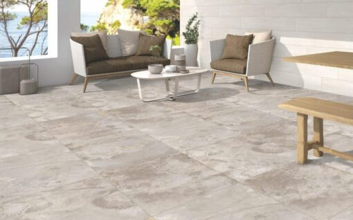 Seating area paved with beside grey porcelain