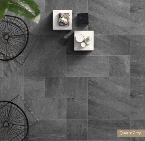 Mixed size slabs of Quartz grey porcelain paving