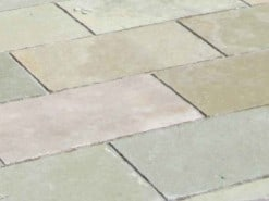 Patio path laid with yellow limestone paving