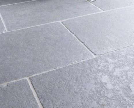 Grey limestone used in garden patio