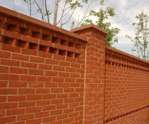 Outdoor wall constructed from Dorset red bricks