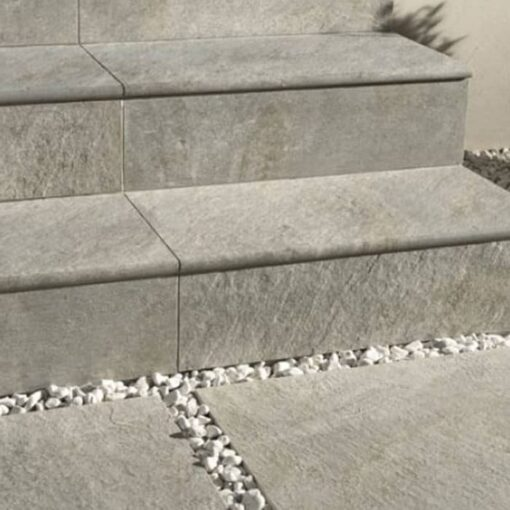 Argento porcelain used to pave path and steps
