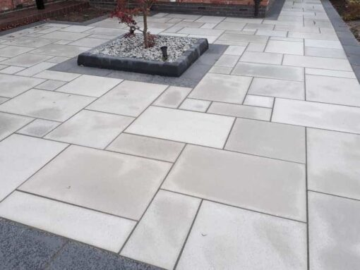 Sandblasted Kandla grey sandstone used in path and courtyard