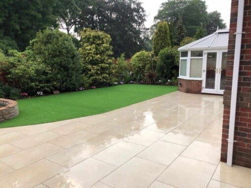 London Beige porcelain paving in garden