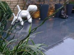 Garden patio laid with London black porcelain