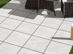 Outdoor seating area with London grey porcelain paving