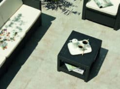 Outside seating area paved with Vega porcelain paving