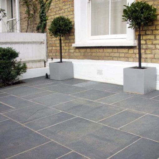 Kotah black limestone recently laid outside house