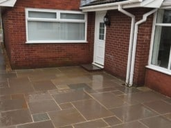 Autumn brown sandstone patio outside house entrance