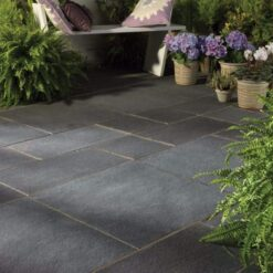 Kotah black paving in outside garden seating area