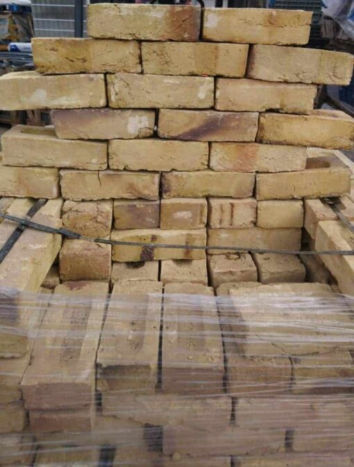 London Yellow stock bricks displayed on wrapped pallet