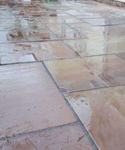 Wet tumbled Modak sandstone in outdoor patio area