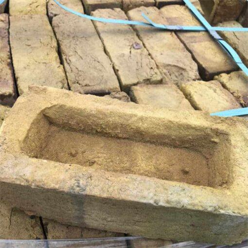 Top view of Funton yellow stock brick on top of pallet of Funton yellow bricks